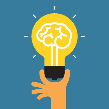 Hand holding light bulb. Concept of the success idea.