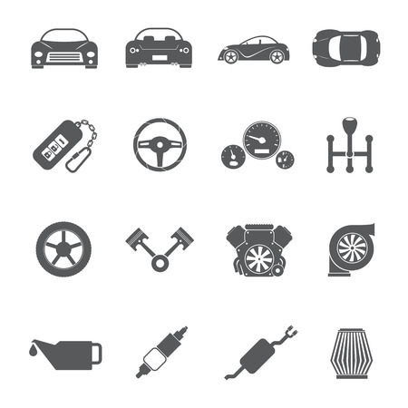 car engine: Car parts icons