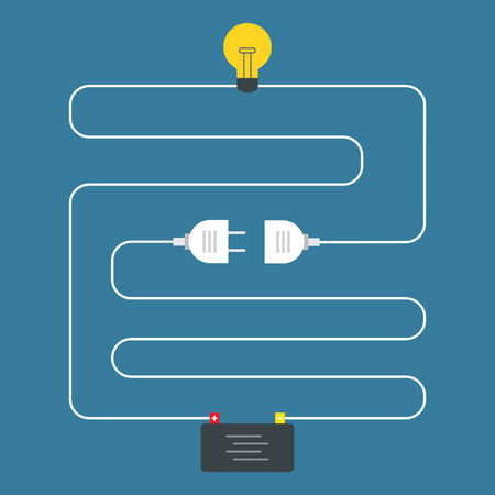 electricity: Circuit. Concept of plug connector. Flat design Illustration