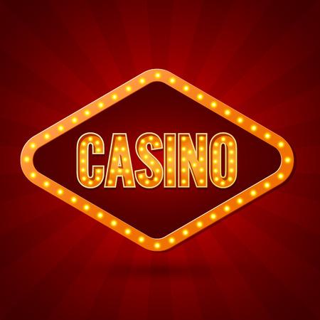rueda de la fortuna: la iluminación del casino Banner. ilustración vectorial Vectores