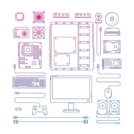 computer hardware: Computer hardware parts. Line design