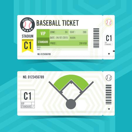 Baseball Ticket Card modern element design Ilustrace