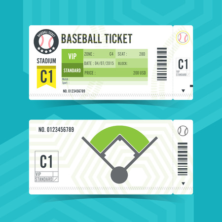 Baseball Ticket Card modern element design Illustration