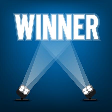 スポット ライトと勝者の標識を照らす