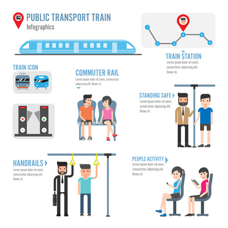 Public transport train infographics Vectores