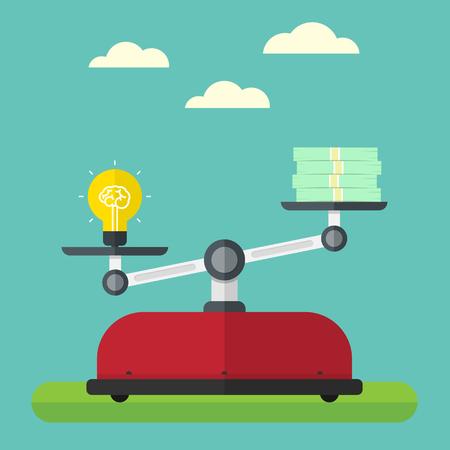 the value: Valor de la idea. Concepto de cerebro y el dinero