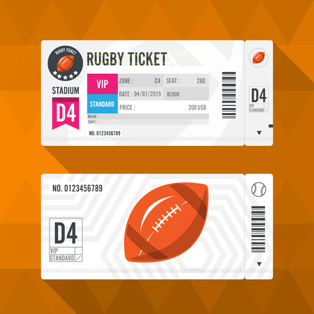 rugby ball: Rugby Ticket Card modern element design Illustration