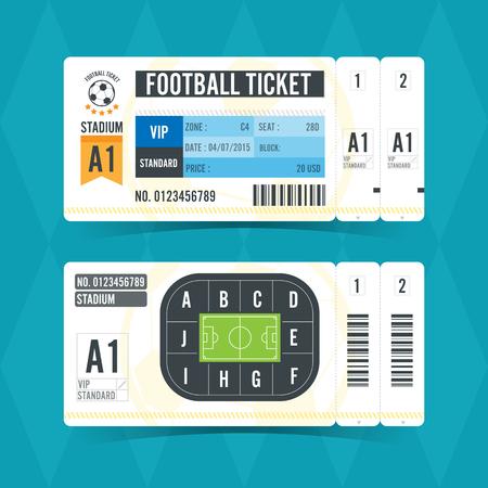 サッカー チケットのモダンなデザイン。ベクトル図