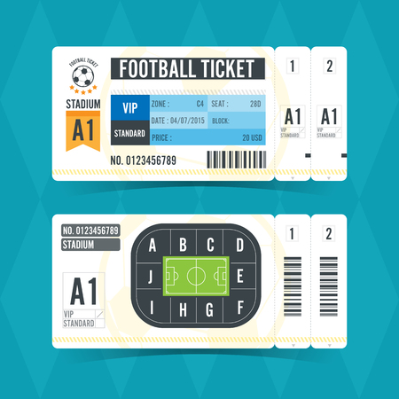 Football Ticket Modern Design. Vector illustration Vettoriali