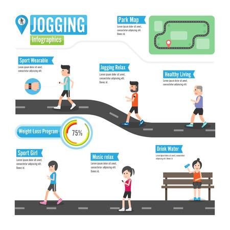 fitness woman: Jogging infographics Illustration