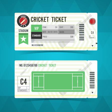 ticket stubs: Cricket ticket card modern design. Vector illustration