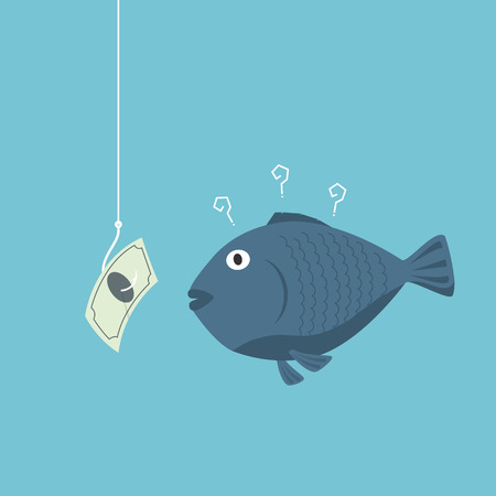 investment concept: Investment money use. fish concept