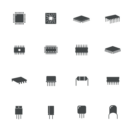 chipset: electronic microchip components icons