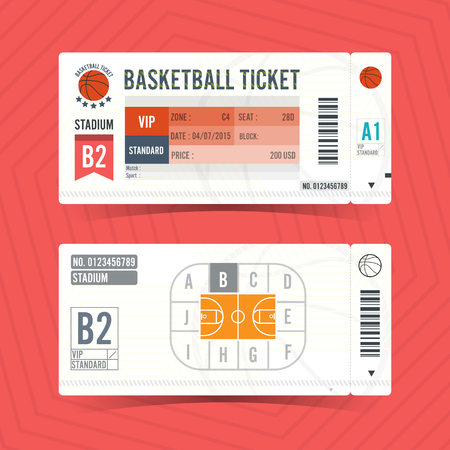 Basketball Ticket Card modern element design Vettoriali