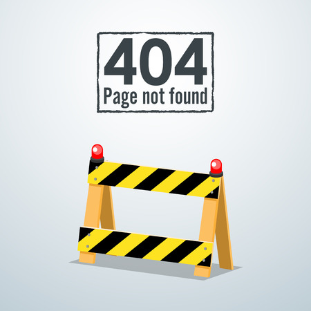 outage: 404 Page not found. Concept of Road Barrier. Illustration