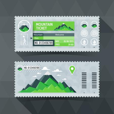 massif: Mountain Park Travel Ticket Card. modern element design.