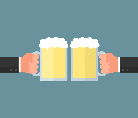 clinking: Businessman hand holding a glass of beer. Clink glasses concept