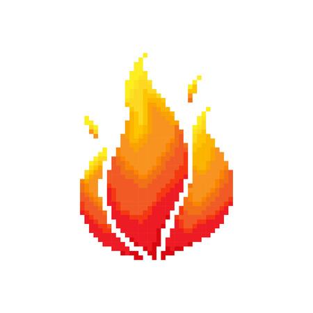 flames: Flame pixel concept. Illustration