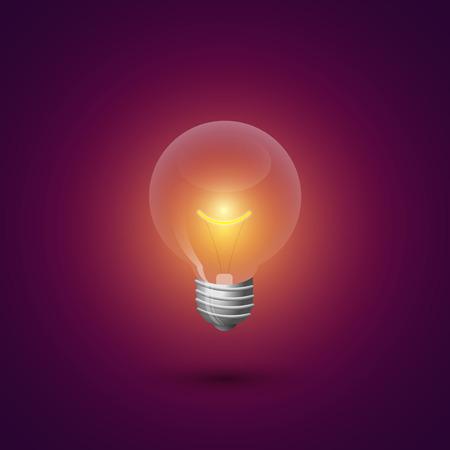 illuminated: Light bulb illuminated. Illustration