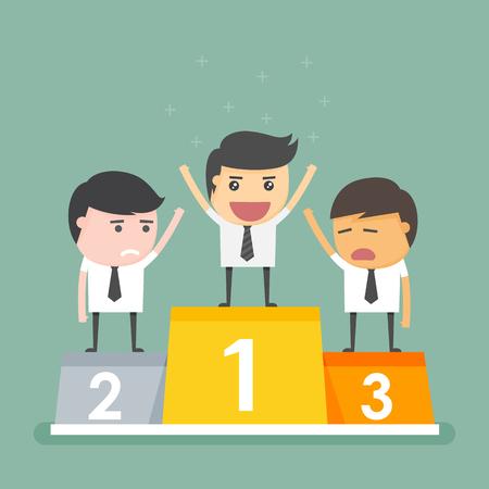 hombres ejecutivos: ganador del hombre de negocios de pie en el podio.