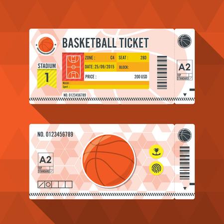 Basketbal ticket kaart modern element design. Stock Illustratie
