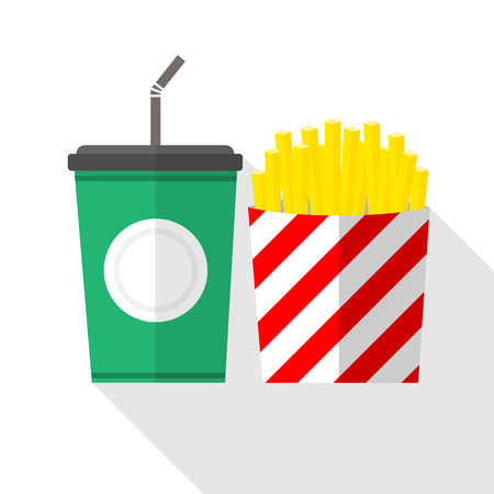 soft drinks: French fries and soft drinks