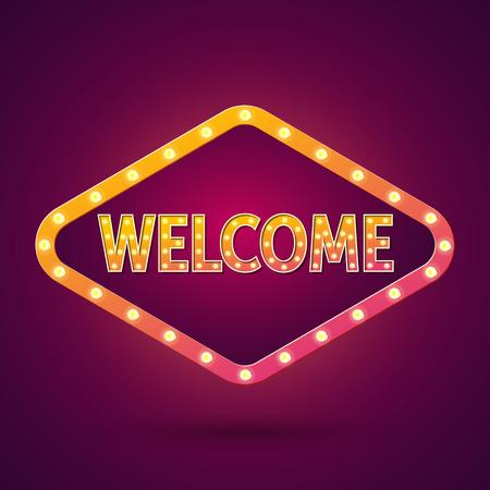 vegas strip: Welcome. Banner Lighting. Vector illustration.