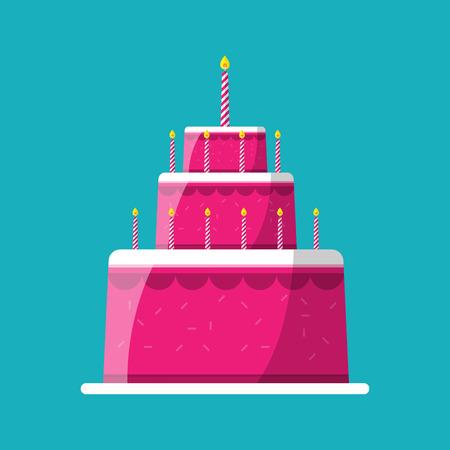 pastel cumpleaños: Pastel de boda Vectores