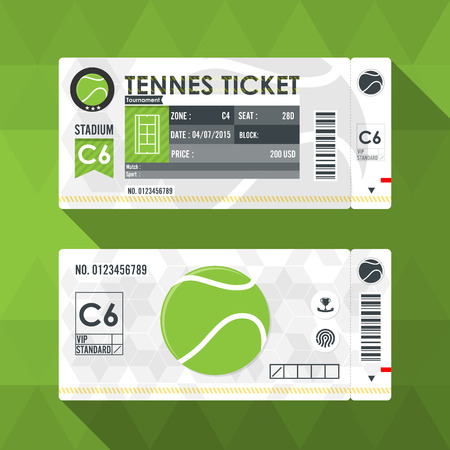 ball game: Tennis ticket card modern element design Illustration
