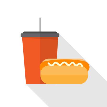soft drinks: Sandwich and soft drinks Illustration