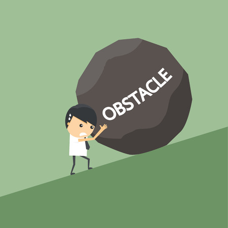 obstacle: Businessman with obstacle stone.
