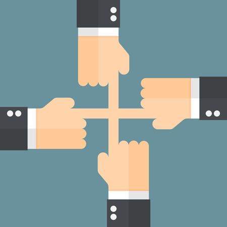manos unidas: Unir las manos. Cooperaci�n de negocios. Vectores