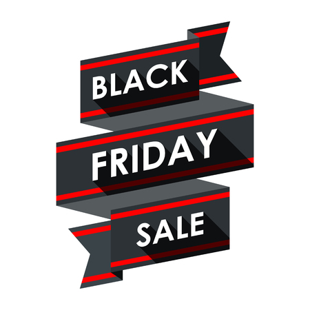 red black: Black friday sale. Label ribbon design.