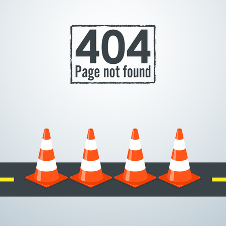 outage: 404 Page not found. Concept of traffic cone.