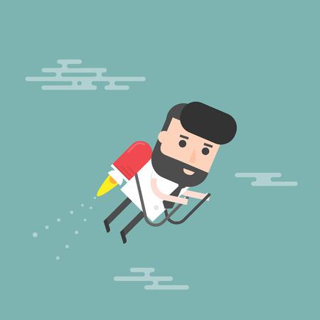 jetpack: Businessman Jet. Concept Of The Fast Success. Illustration