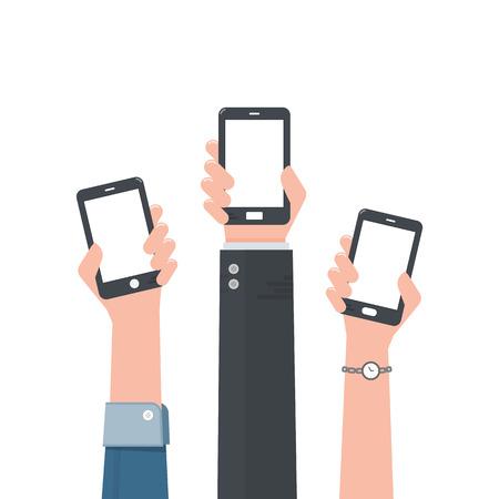 Hand holding smartphone. Stock Illustratie