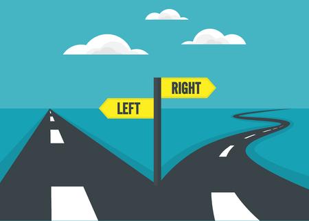 Choisir le chemin de façon directe et le mode de la courbe. décision concept.