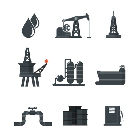 flaring: Petroleum Oil Production Processing and Transport Icons.
