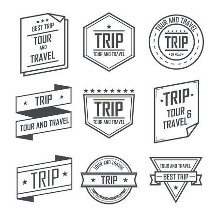 Tour and travel trip labels and stickers vintage emblem design.