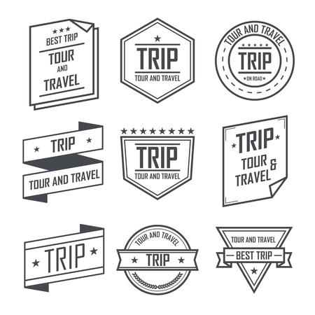 Tour y viajar viajes etiquetas y pegatinas diseño del emblema de la vendimia.