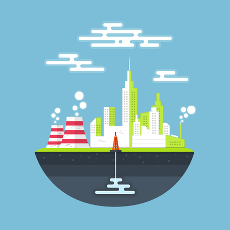 polluted cities: Polluted industry city landscap Illustration