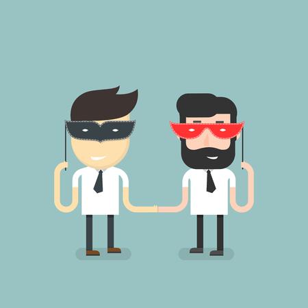 friendliness: Hombre de negocios enmascarado su enemistad bajo una apariencia de amabilidad. Vectores