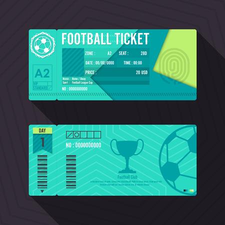 vouchers: Football Ticket Material Design. Vector illustration.