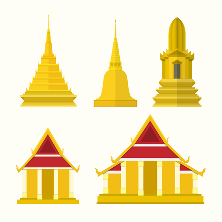 mormon: Thailand temple elements. vector illustration.
