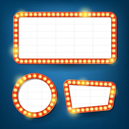Lampadine cartellone elettrico. telai leggeri Retro. Archivio Fotografico - 59461619