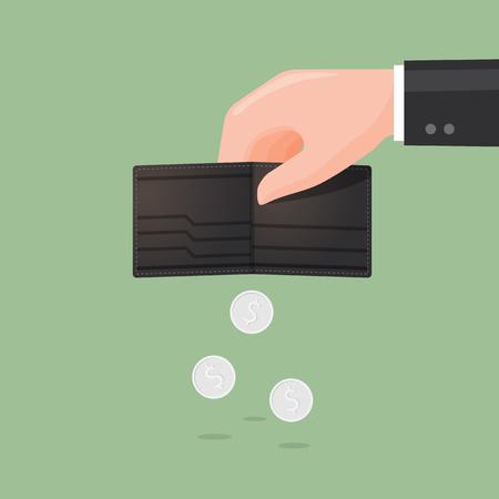 Wallet wenig Geld. Business-Konzept Illustration.