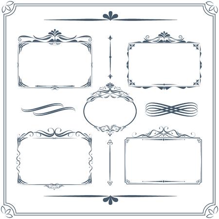 calligraphic design: Vintage frame set. Calligraphic design elements.