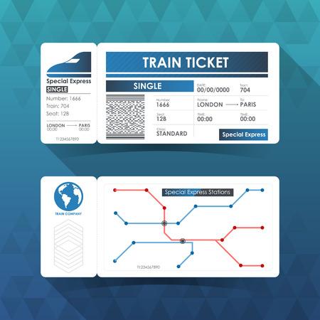Billet de train Card, Element design avec Blue Color. illustration. Vecteurs