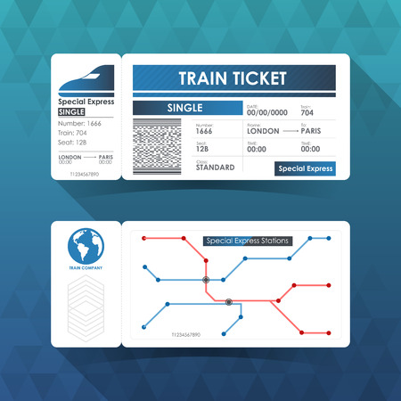 train ticket: Train Ticket Card, Element Design with Blue Color. illustration.
