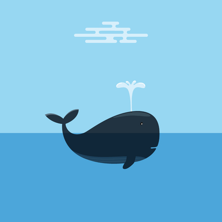 spraying: Whale Spraying Water. Concept of Marine Conservation.